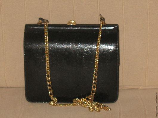 Винтажные сумки и кошельки. Ярмарка Мастеров - ручная работа. Купить винтажная черная сумочка из кожи ящерицы на цепочке. Handmade. Черный