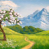 Картины и панно ручной работы. Ярмарка Мастеров - ручная работа Картина пейзаж весенний У подножия гор, зеленый. Handmade.