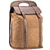 Сумки и аксессуары handmade. Livemaster - original item Backpack leather and canvas