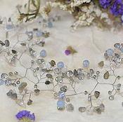 Украшения handmade. Livemaster - original item wedding band, a sprig of quartz aquamarine and labrador