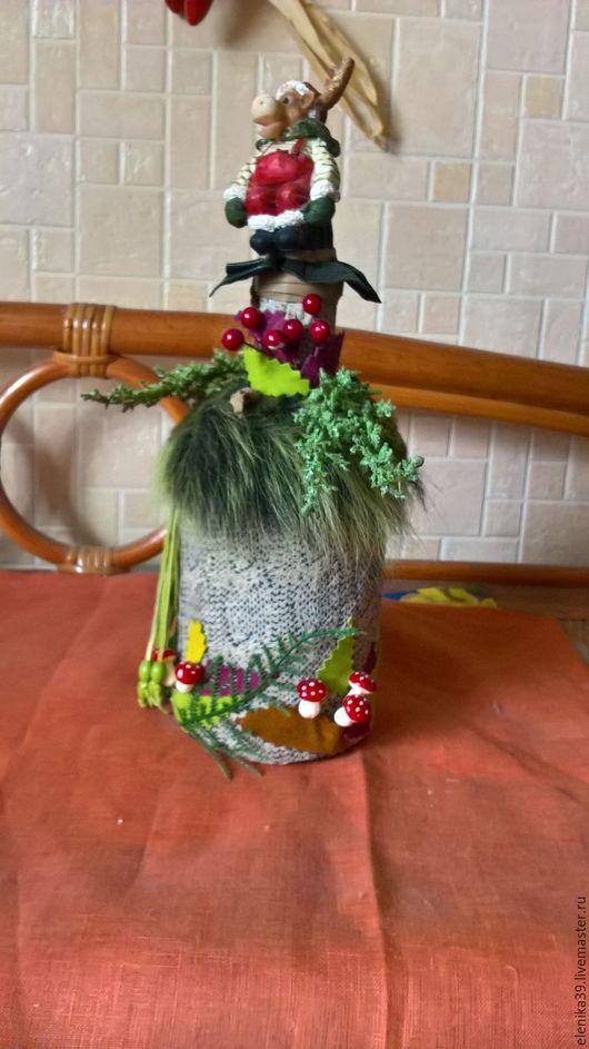 Интерьерные композиции ручной работы. Ярмарка Мастеров - ручная работа. Купить Рождественская бутылка с оленем. Handmade. Зеленый, бутылка, кожа