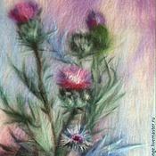 """Картины и панно ручной работы. Ярмарка Мастеров - ручная работа картина из шерсти """"Чертополох"""". Handmade."""