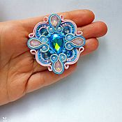 Украшения handmade. Livemaster - original item Brooch blue pink butterfly embroidered Shibori silk ribbon,crypearls. Handmade.