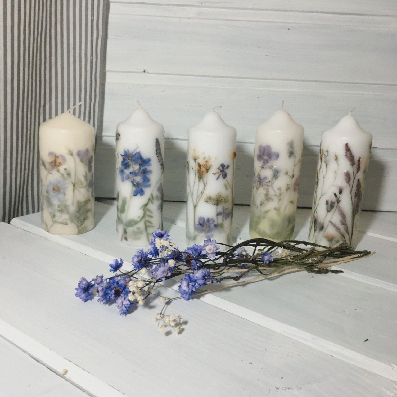 Свечи интерьерные, большие, с гербарием, ручной работы,, Свечи, Москва,  Фото №1