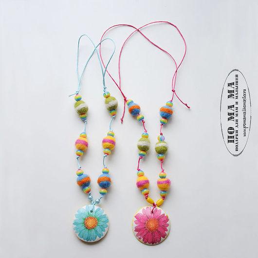 Колье, бусы ручной работы. Ярмарка Мастеров - ручная работа. Купить Летние бусы полосато-цветочные (2 цвета!). Handmade.