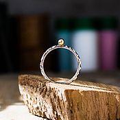 Кольца ручной работы. Ярмарка Мастеров - ручная работа Серебряное кольцо с латунным шариком, размер по запросу. Handmade.