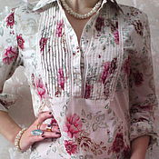 Одежда ручной работы. Ярмарка Мастеров - ручная работа Платье рубашка батистовая  Английский фарфор-розовый сад. Handmade.