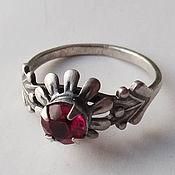 Винтаж handmade. Livemaster - original item A ring with a crimson red insert. Handmade.