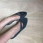 Обувь ручной работы. Ярмарка Мастеров - ручная работа Балетки туфли темно-серый замш. Handmade.