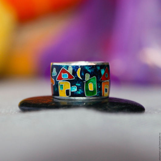 """Кольца ручной работы. Ярмарка Мастеров - ручная работа. Купить Кольцо на мизинец """"Домики"""" из серебра с эмалью. Минанкари. Handmade."""