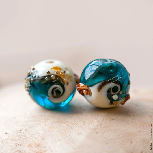 """Для украшений ручной работы. Ярмарка Мастеров - ручная работа. Купить Бусина, Мурано """"Пляж синий"""". Handmade. Синий, лэмпворк"""