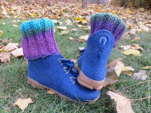 Обувь ручной работы. Ярмарка Мастеров - ручная работа. Купить Ботиночки валяные Deep blue. Handmade. Ботинки, гетры вязаные