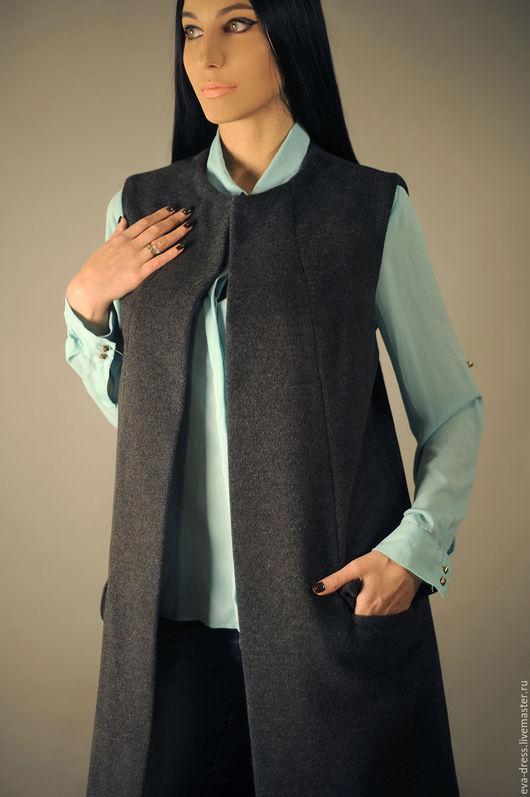 """Жилеты ручной работы. Ярмарка Мастеров - ручная работа. Купить Женское пальто без рукавов, длинный жилет """"Grey"""". Handmade."""