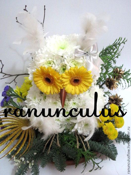 Сова из цветов заказать цветы и букеты на заказ без посредника