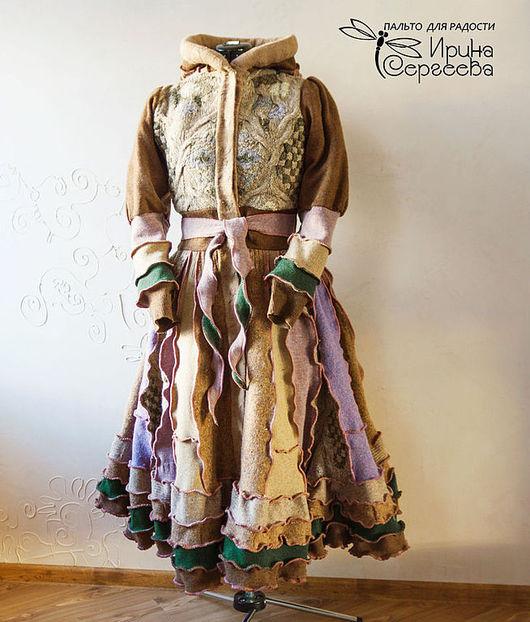 """Стимпанк ручной работы. Ярмарка Мастеров - ручная работа. Купить Лоскутное пальто """"Травяной чай"""". Handmade. Бежевый, Дизайнерское пальто"""