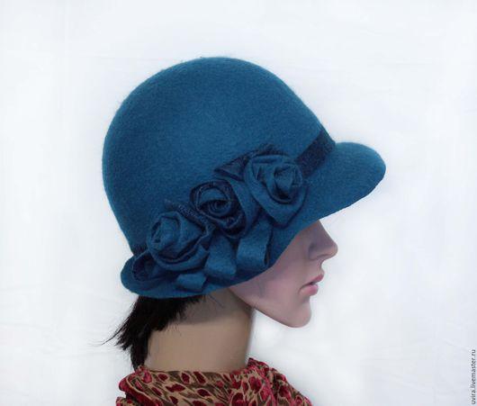 """Шляпы ручной работы. Ярмарка Мастеров - ручная работа. Купить """"Изабелла"""" авторская шляпка - войлок. Handmade. Синий, шляпка с цветами"""