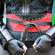 Аксессуары handmade. Livemaster - original item the girdle is made of genuine leather black with red. Handmade.