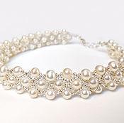 Украшения handmade. Livemaster - original item Crystal and Pearl Choker Multi Strand, Real Freshwater Pearl Collar. Handmade.
