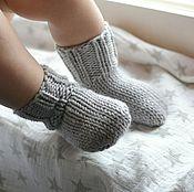 Работы для детей, ручной работы. Ярмарка Мастеров - ручная работа Носочки для новорожденного, теплые шерстяные детские носки. Handmade.