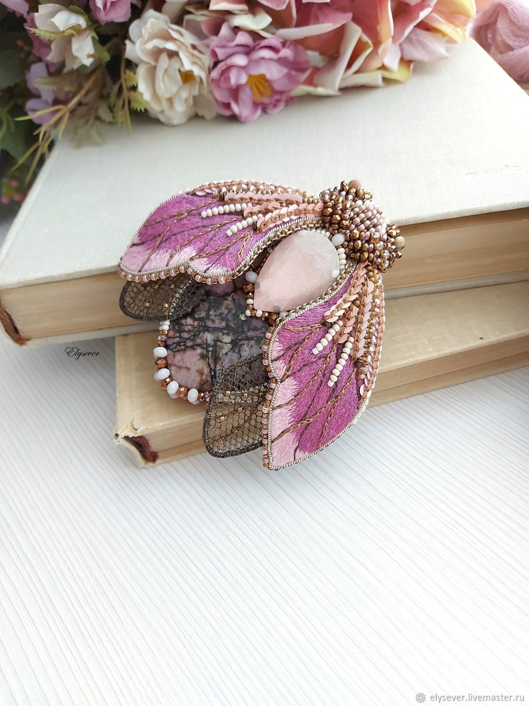 Moth brooch in shades of pink; 9h9 cm, Brooches, Murmansk,  Фото №1