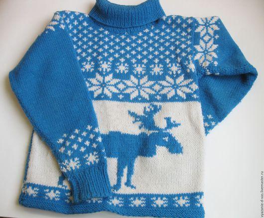 Одежда унисекс ручной работы. Ярмарка Мастеров - ручная работа. Купить Свитер вязаный детский Северный олень. Handmade.