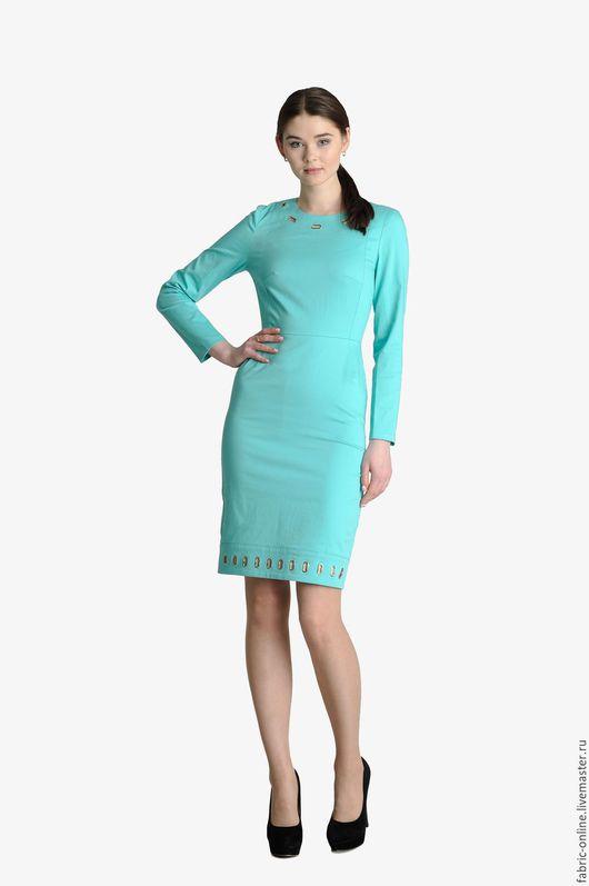 Платья ручной работы. Ярмарка Мастеров - ручная работа. Купить Платье мятное из плотного хлопка с люверсами. Handmade. Мятный