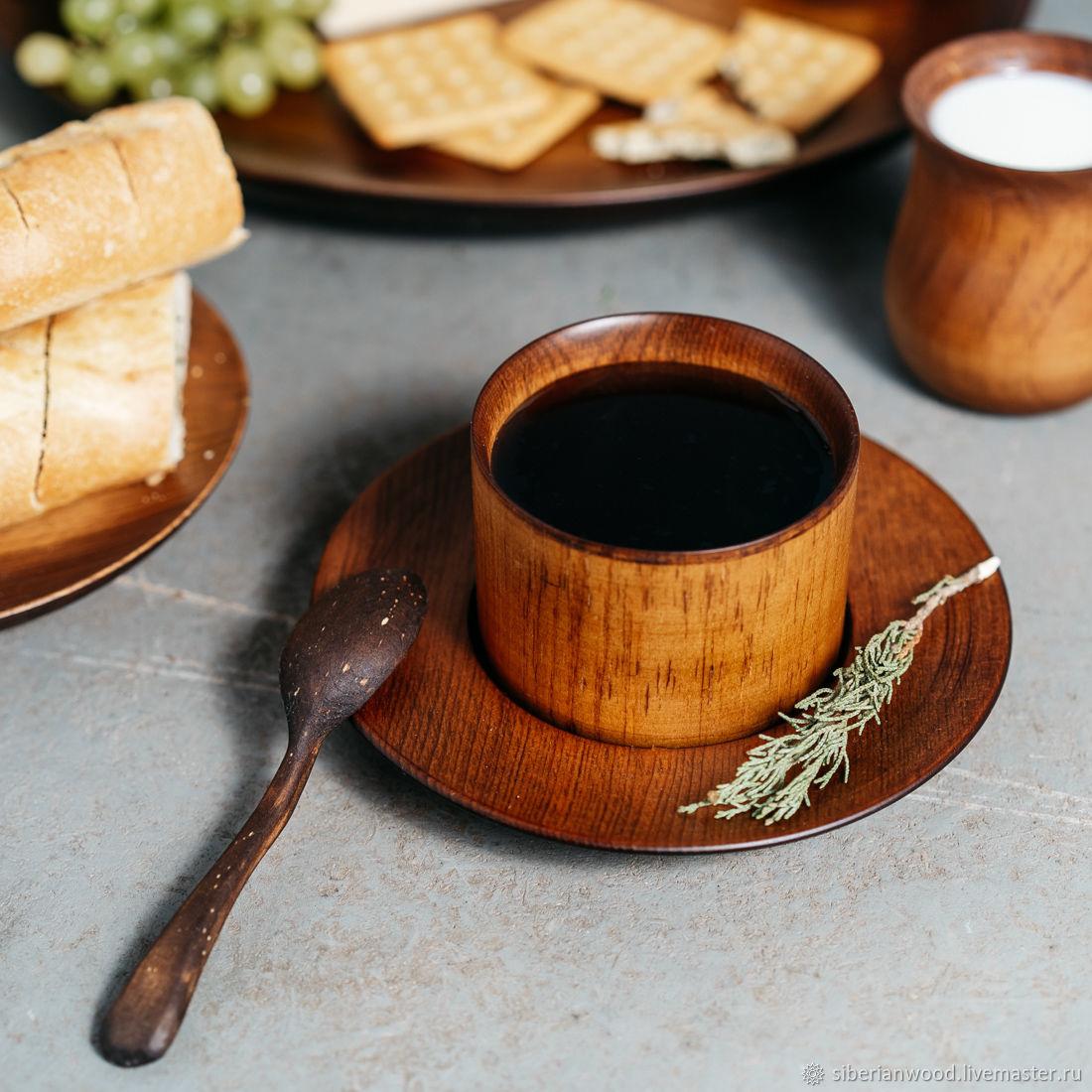 Coffee steam Cedar (Mug saucer spoon) from the Siberian Cedar #NC18, Mugs and cups, Novokuznetsk,  Фото №1