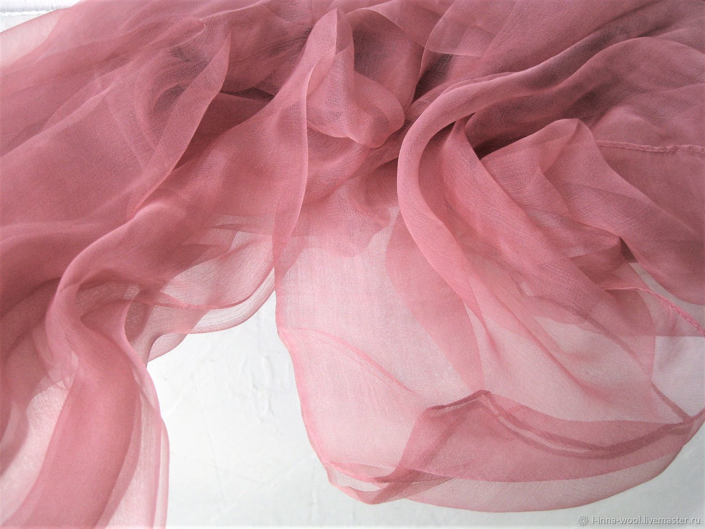 Пыльная роза Шелковый шифоновый палантин 105х180 см, Валяние, Новосибирск, Фото №1
