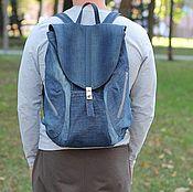 handmade. Livemaster - original item Backpack from jeans with skin city. Handmade.