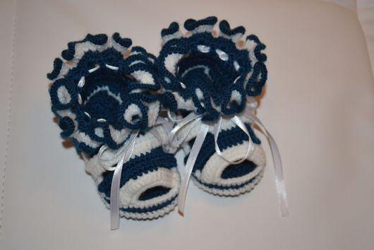Для новорожденных, ручной работы. Ярмарка Мастеров - ручная работа. Купить Пинетки-сандалики. Handmade. Пинетки, пинетки для новорожденных