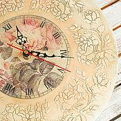 Для дома и интерьера ручной работы. Ярмарка Мастеров - ручная работа большие часы ВЕНОК ИЗ РОЗ. Handmade.