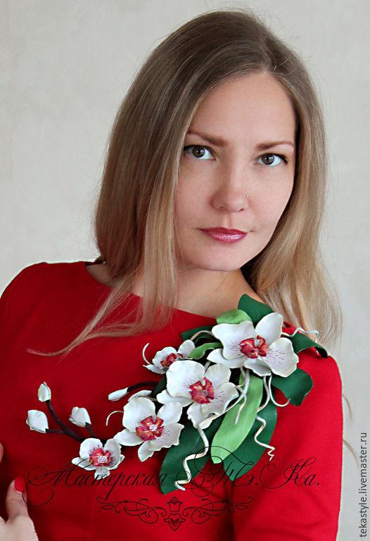 Броши ручной работы. Ярмарка Мастеров - ручная работа. Купить Колье из кожи Белая орхидея, брошь орхидея из кожи, тропический цветок. Handmade.