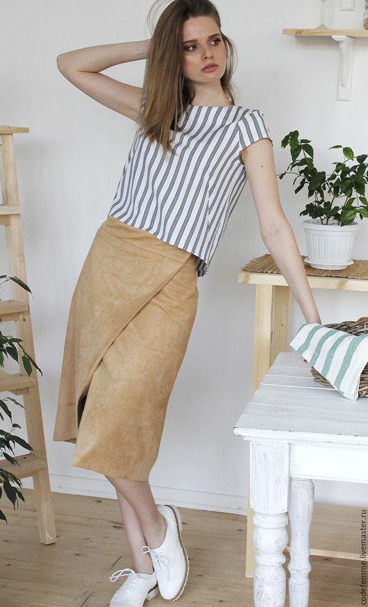 Блузки ручной работы. Ярмарка Мастеров - ручная работа. Купить Топ из легкой джинсы. Handmade. Белый, блузка, топ из хлопка