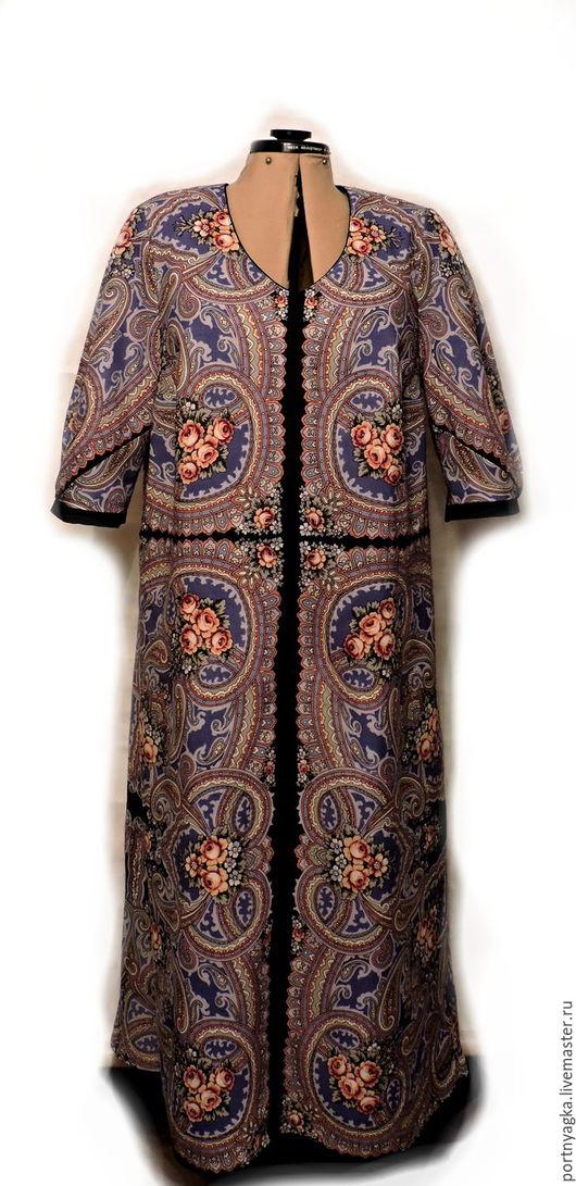 Платья ручной работы. Ярмарка Мастеров - ручная работа. Купить Платье Синяя яшма из павловопосадских платков. Handmade. Синий