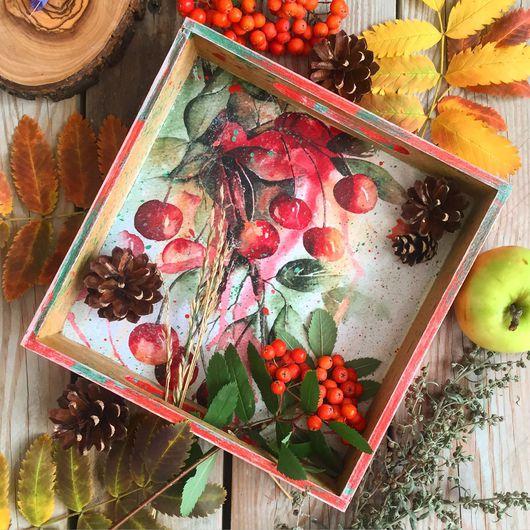 """Кухня ручной работы. Ярмарка Мастеров - ручная работа. Купить Маленький поднос """"Яркая вишня"""". Handmade. Поднос, вишни, подарок"""