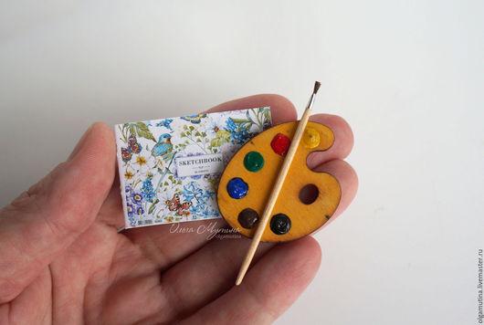 Кукольный дом ручной работы. Ярмарка Мастеров - ручная работа. Купить Краски, кисть и альбомчик. Handmade. Комбинированный, дерево
