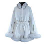 Одежда handmade. Livemaster - original item Poncho made of cashmere with blue Fox fur,