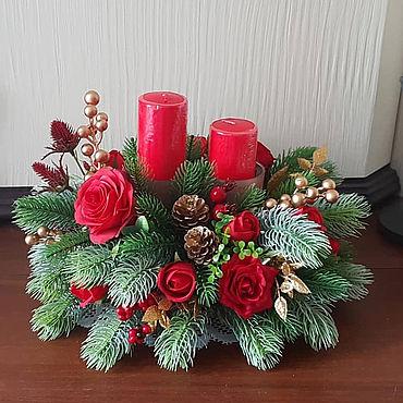 """Цветы и флористика ручной работы. Ярмарка Мастеров - ручная работа Композиции: """"Новогодняя с розами"""" новогодний подсвечник. Handmade."""