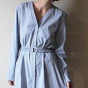 Одежда ручной работы. Ярмарка Мастеров - ручная работа Платье-рубашка голубая 44 размер. Handmade.