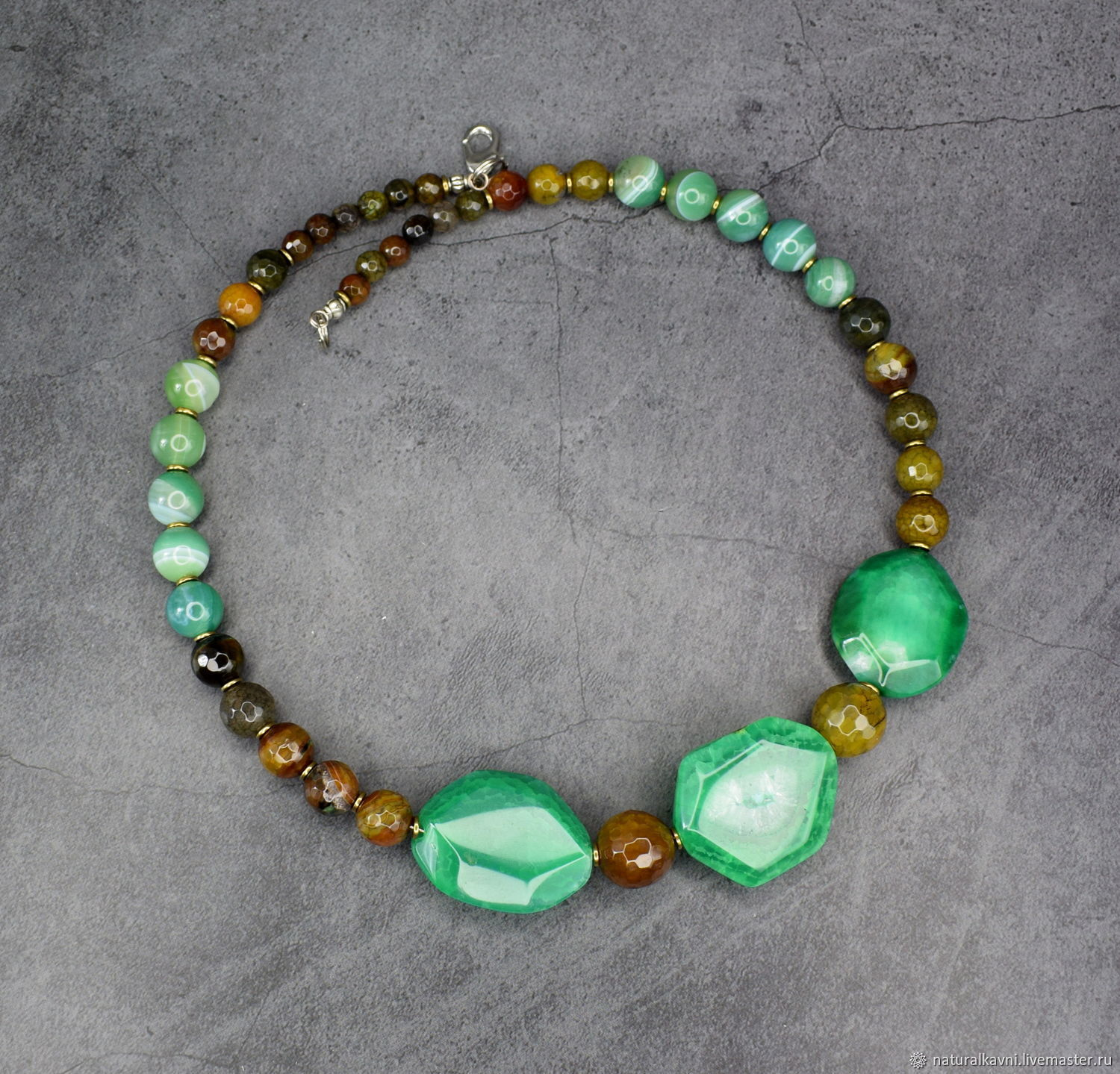Author's necklace natural agate, Necklace, Moscow,  Фото №1