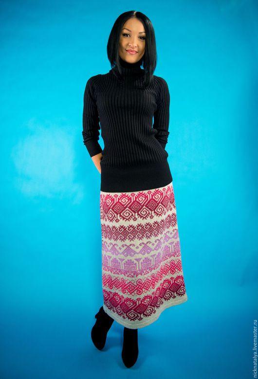 Юбки ручной работы. Ярмарка Мастеров - ручная работа. Купить Вязаная юбка с орнаментом. Handmade. Комбинированный, теплая юбка, Кауни