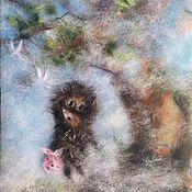 Картины и панно handmade. Livemaster - original item Picture of wool hedgehog in the fog. Handmade.