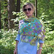 Аксессуары handmade. Livemaster - original item Felted scarf Candy Baranochki, light silk stole. Handmade.
