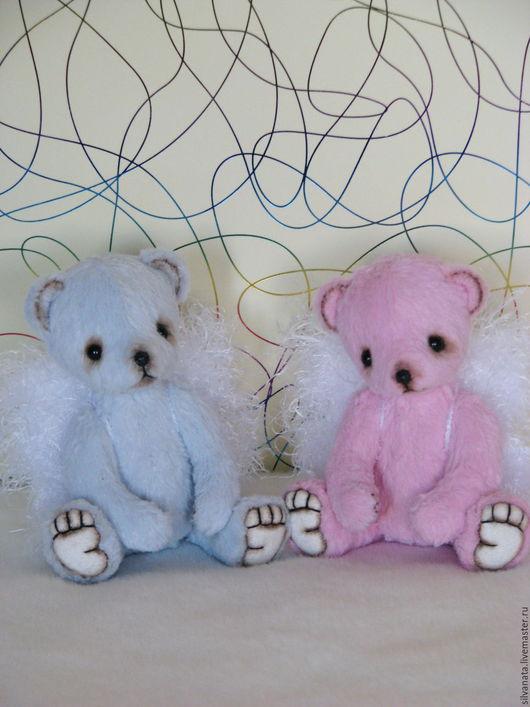 Мишки Тедди ручной работы. Ярмарка Мастеров - ручная работа. Купить Мини Тедди мишки. Ангелы розовый и голубой.12см.. Handmade.