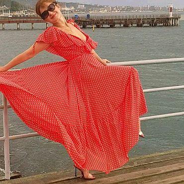 Одежда ручной работы. Ярмарка Мастеров - ручная работа Красное платье в белый горошек.look1. Handmade.