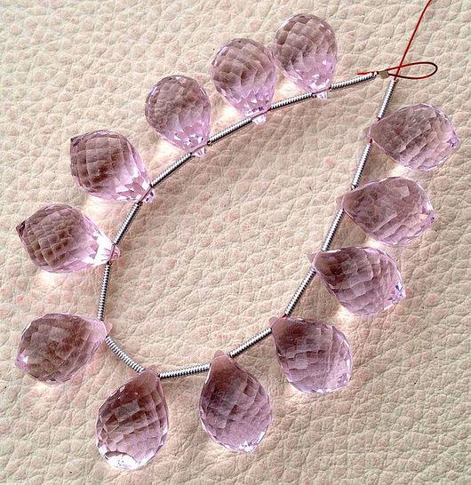 Для украшений ручной работы. Ярмарка Мастеров - ручная работа. Купить Пара. Розовый кварц. Крупные микро-огранка капли  15х10мм. Handmade.