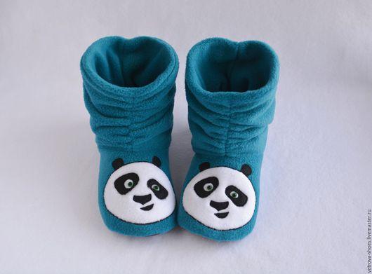 """Обувь ручной работы. Ярмарка Мастеров - ручная работа. Купить тапочки """"Кунг-фу панда"""". Handmade. Тёмно-бирюзовый"""