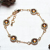 Bead bracelet handmade. Livemaster - original item Gold-plated bracelet with smoky crystals
