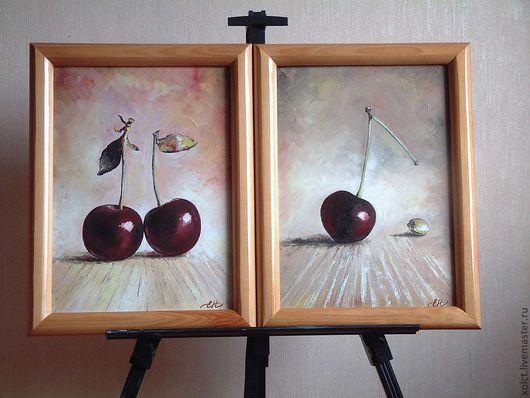 """Натюрморт ручной работы. Ярмарка Мастеров - ручная работа. Купить Диптих """"Спелая вишня"""". Handmade. Натюрморт с фруктами, вишня"""