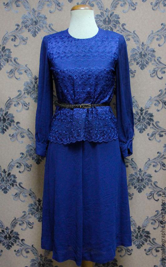 Одежда. Ярмарка Мастеров - ручная работа. Купить Платья Lu-voa винтаж 80-е. Handmade. Тёмно-синий, платье